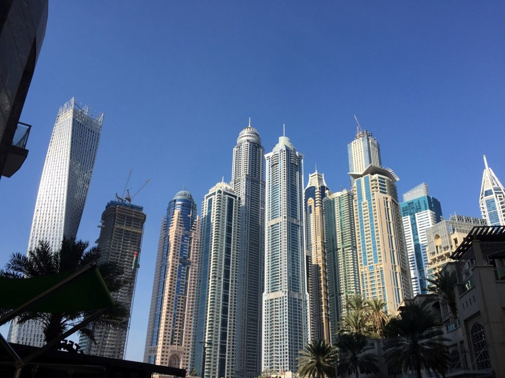 Dubai Marina walk skycrapers