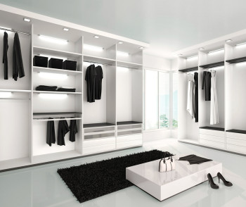 3d illustration of Luxurious white wardrobe in a modern style