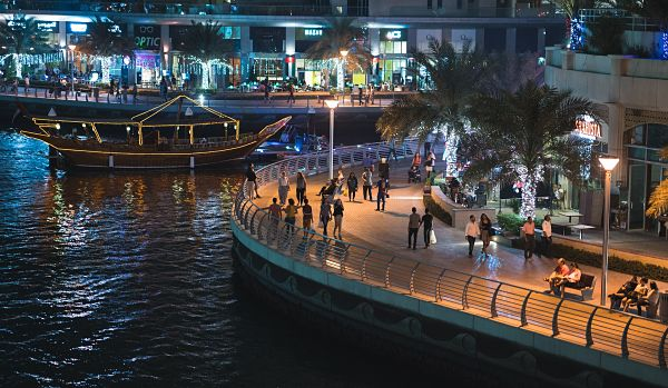 The Dubai Marina Walk at Night