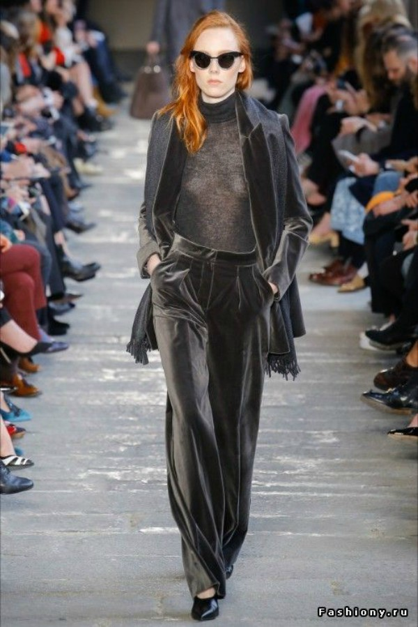 Velvet Suit from Fall 2017 Max Mara Fashion Show - Copyright: British Vogue