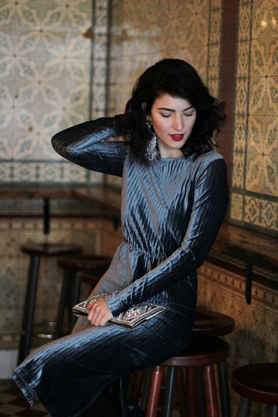 Velvet Dress with Statement Earrings - Copyright: Balmain x HM