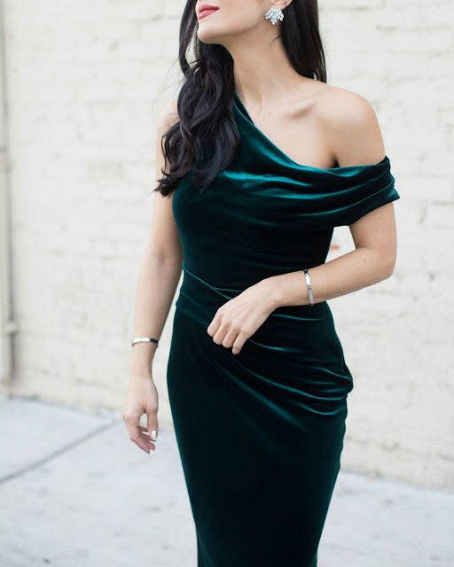 Velvet Dress with Statement Earrings