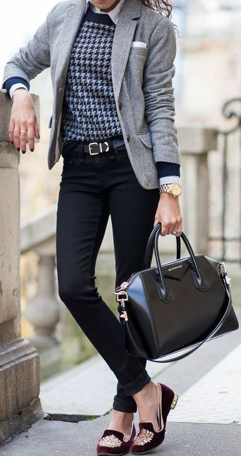 corporate style cotton shirt, houndstooth printed sweater, skinny jeans, velvet loafers